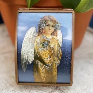 Vintage Angel Brass Glass Trinket Box